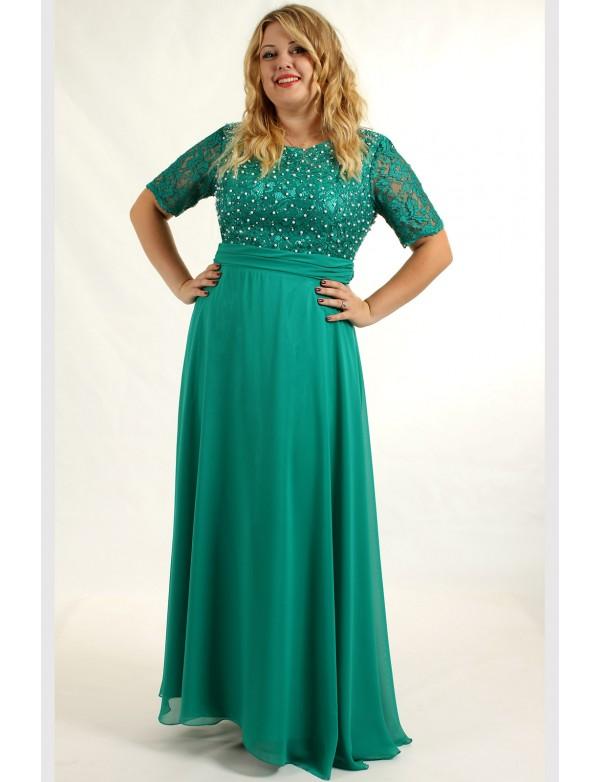 G 0731A_2 БЕЗ ЖЕМЧУГА Платье вечернее в большом размере с гипюровым лифом