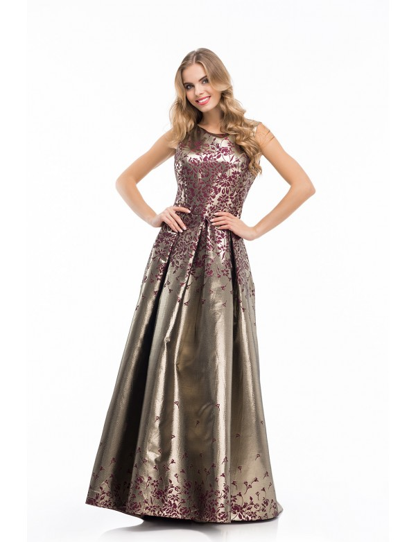 G 0805 Нежнейшее платье из жаккарда в пол