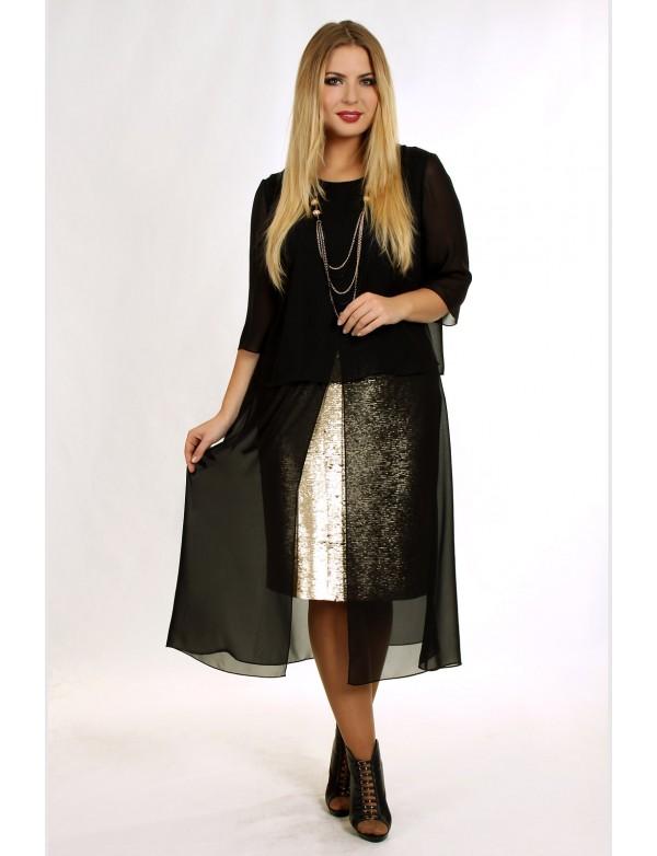 G 2057 Коктейльное платье с шифоновой накидкой и юбкой в пайетках