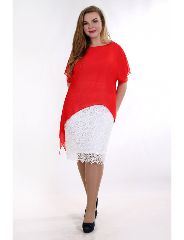 P 0698 А Коктейльное платье из кружева с шифоновой накидкой