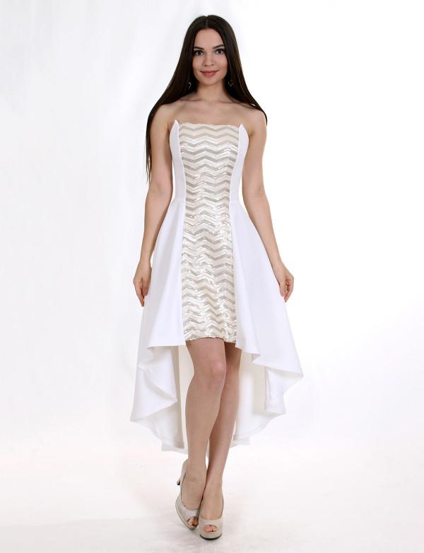 P 0786 Коктейльное платье на мягком корсете с асимметричной юбкой