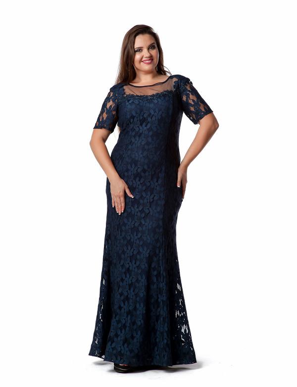 G 2059 Вечернее платье из фактурного гипюра с длинным рукавом