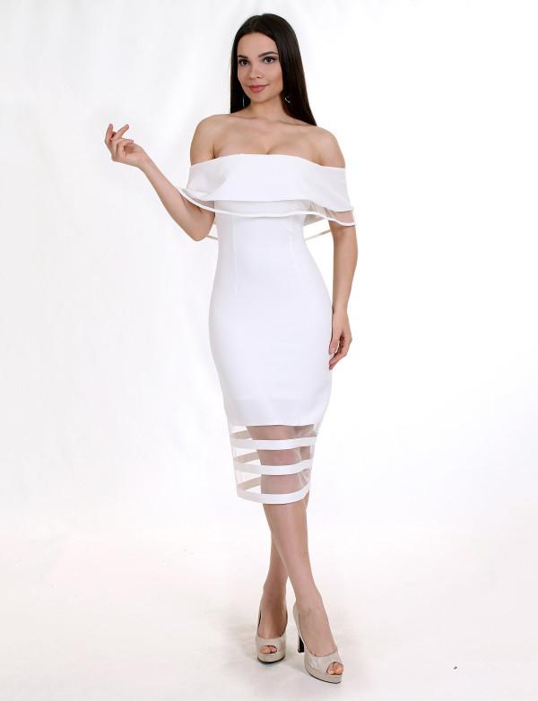 P0845 Платье коктейльное с прозрачными вставками из евросетки