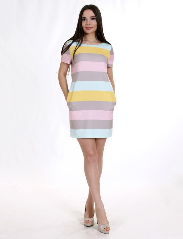 P 0868 Платье коктейльное в горизонтальную полоску в цвет