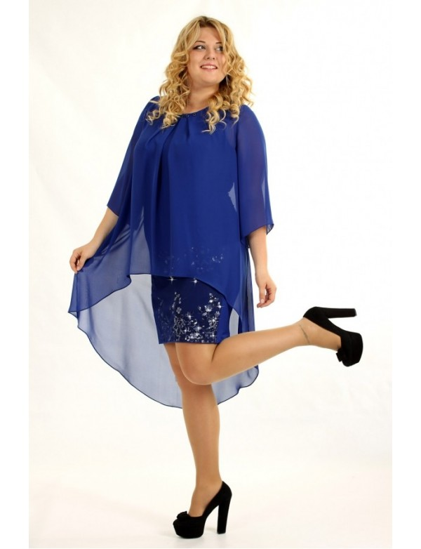 P 0556 Платье-диско с накидкой