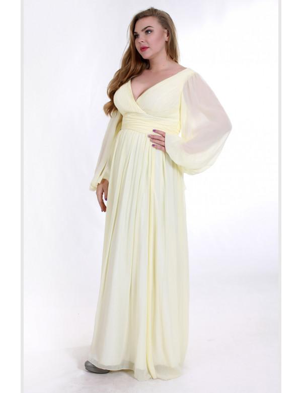 G 0597A Платье вечернее из жатого шифона с рукавами