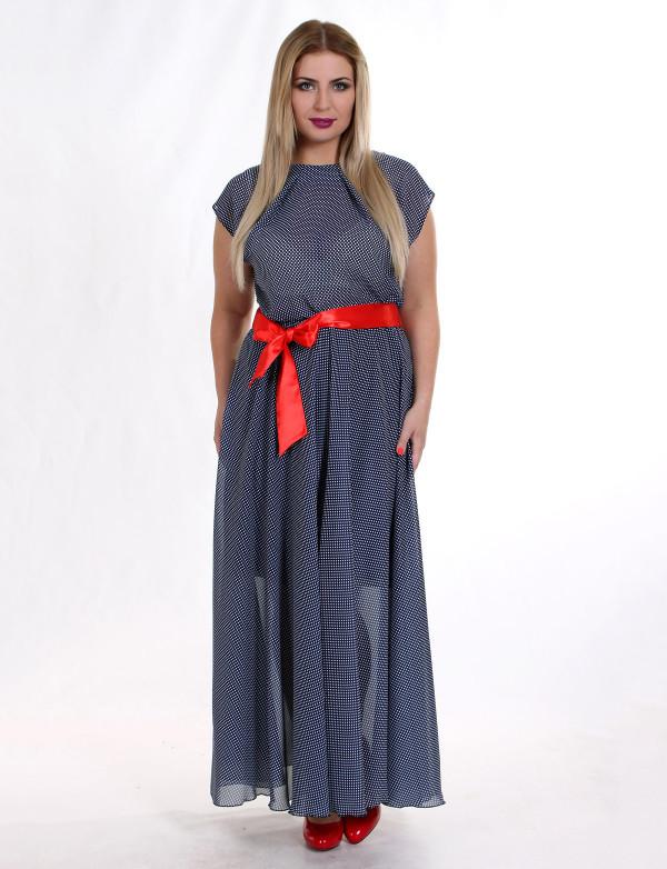 Платье в пол из шифона с пояском G 0833