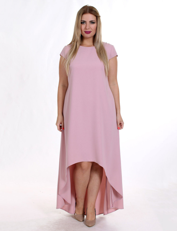 G 2121 Платье вечернее свободного кроя асимметричное