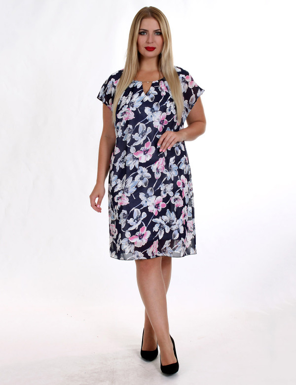 P 0883 Платье коктейльное с разоичными принтами