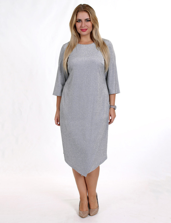 P 0017 Платье коктейльное асимметричное из ткани с металлической нитью
