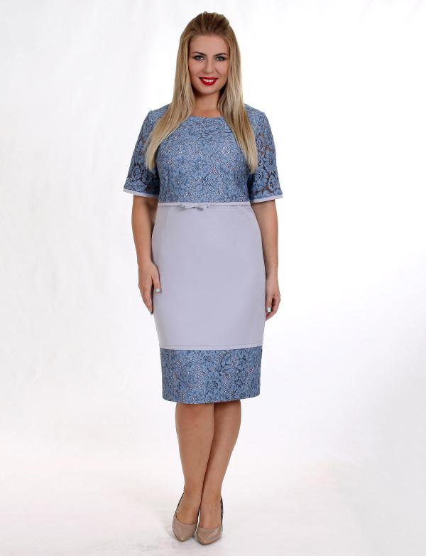 P 0016 Платье коктейльное с гипюровым верхом и декоративным бантом