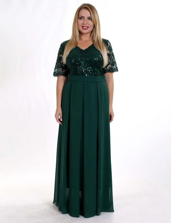 G 2112 Вечернее платье с V - образным вырезом и шифоновой юбкой