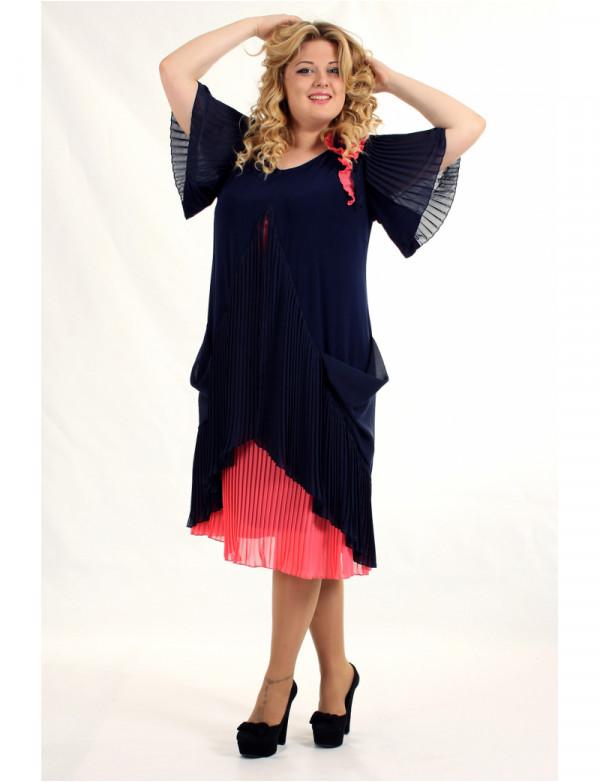 P 0551 Платье коктейльное с гофрированным низом