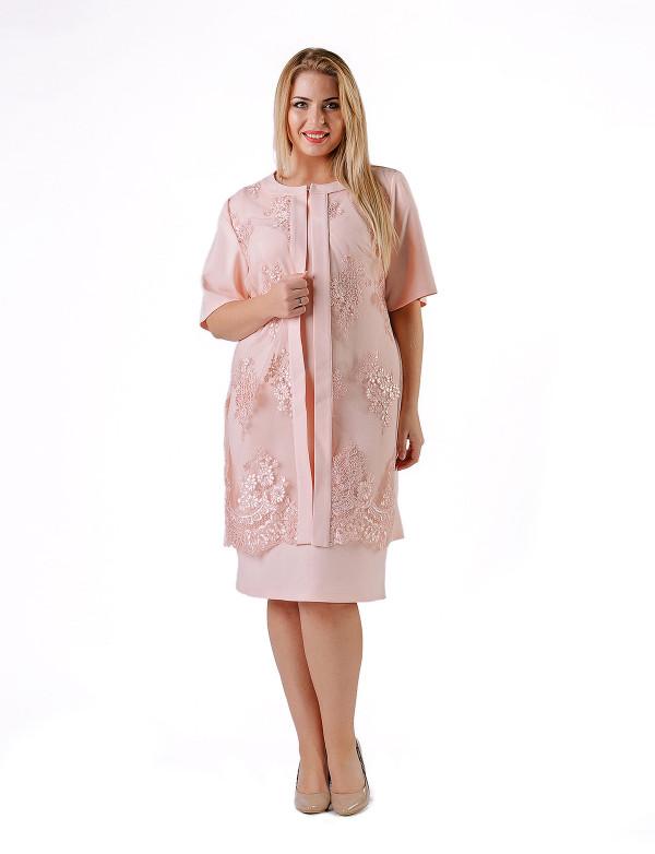 P 0021 Платье коктейльное двойка с гипюровым кардиганом