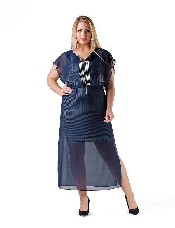 G 2131 Платье вечернее в виде футляра в вертикальную полоску и шифоновой накидки