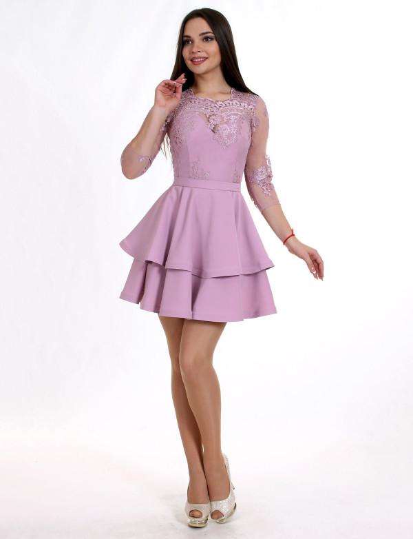 P 0896 Платье коктейльное с гипюровым верхом