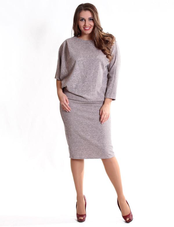 P 0915 Платье коктейльное с напуском и россыпью страз на рукаве