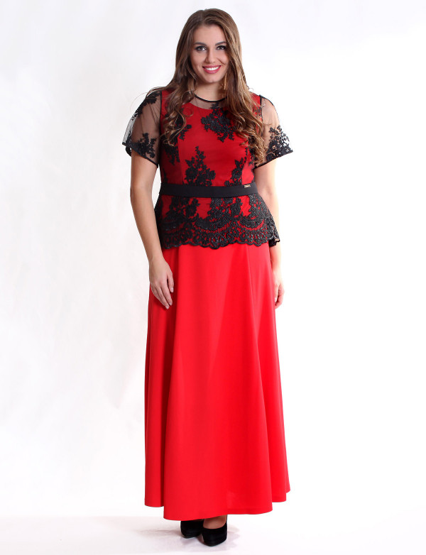 G 2168 A Платье вечернее с юбкой годе и баской из гипюра