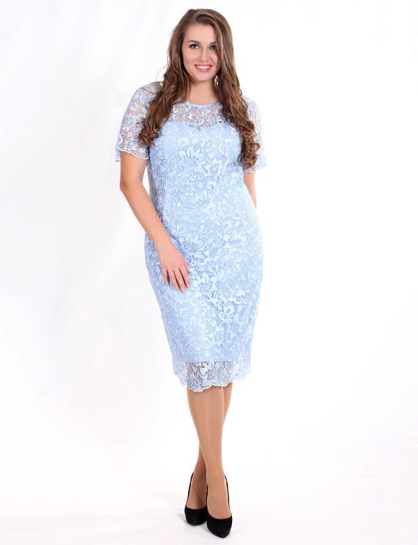 P 0859 Платье коктейльное из гипюра