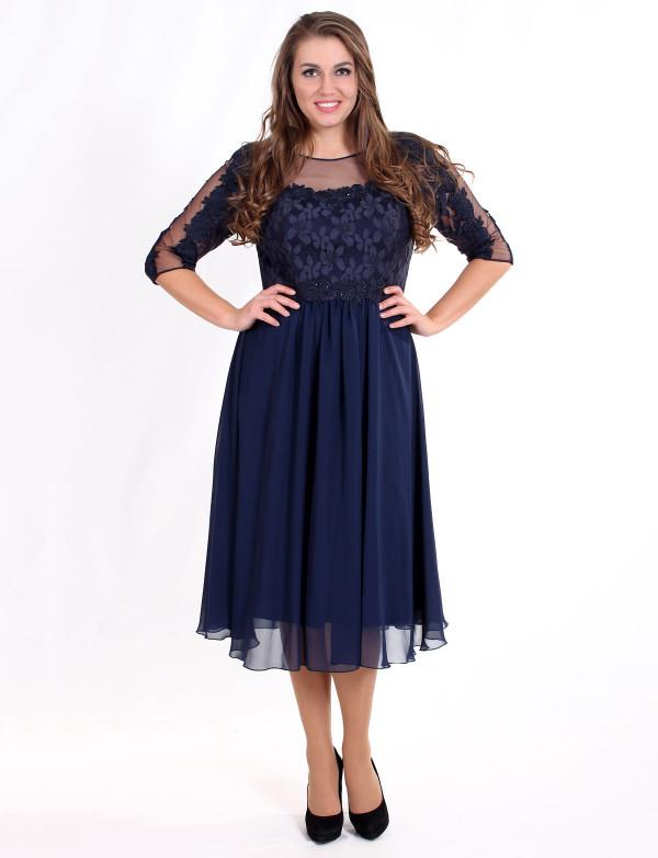 P 0717 Коктейльное платье с вышивкой на гипюре и шифоновой юбкой