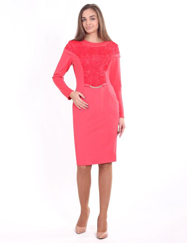 P 0912 Платье коктейльное с длинным рукавом и бижутерией на поясе