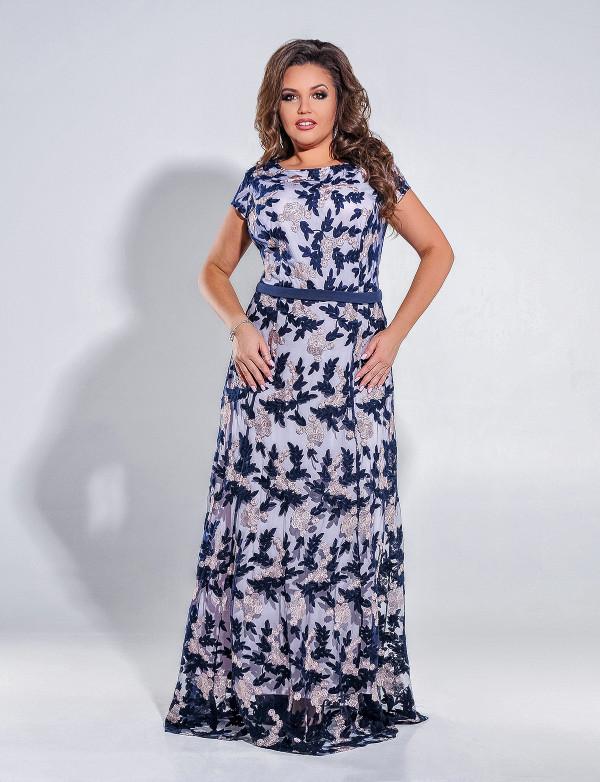 G 2226 A Платье вечернее из гипюра с поясом