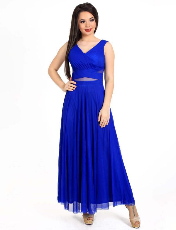 G 3057 Платье вечернее с просветом из евросетки на талии