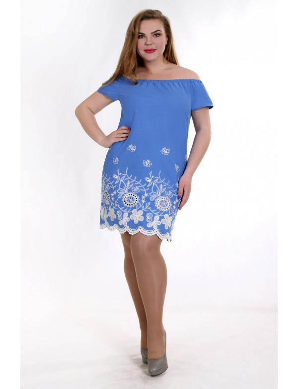 P 0828 A Платье коктейльное с вышитым низом