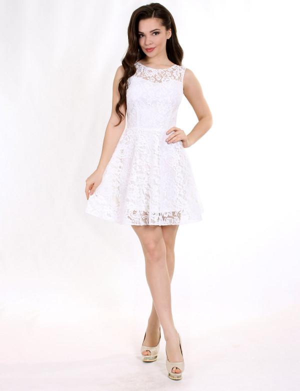 P 0991 Платье коктейльное из гипюра со спинкой из сетки