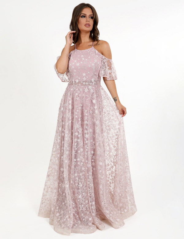 G 3072 Платье вечернее из гипюра-звезды