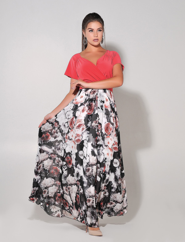 G 2250 Платье вечернее с шифоновым принтованным низом