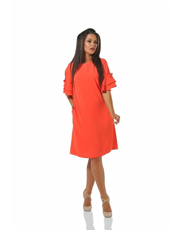 P 0078 Платье коктейльное с рукавами-воланами