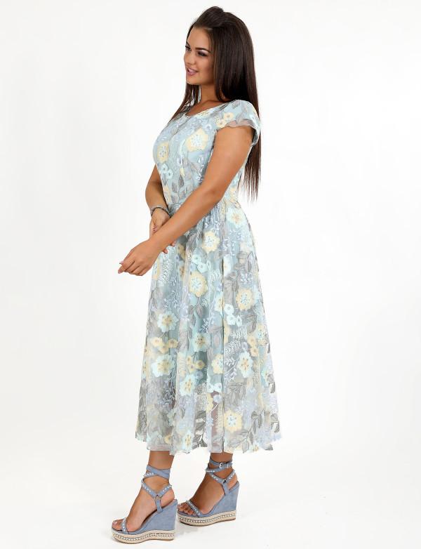 G 2270 Платье вечернее из жатого жаккарда на органзе