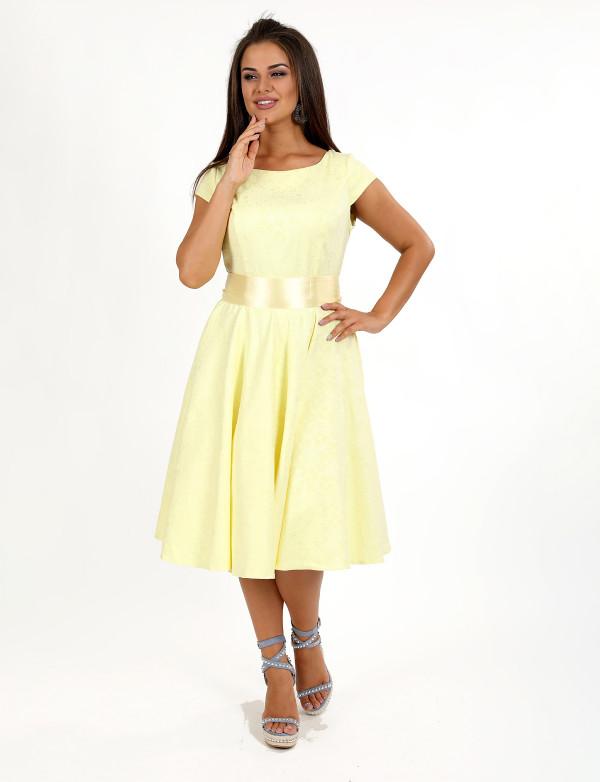 P 0992 Платье коктейльное с поясом из натуральной ткани
