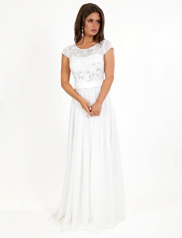 G 2265 Платье шифоновое в пол с гипюровым верхом