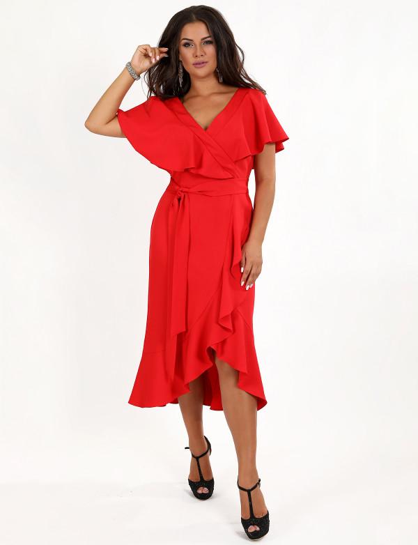 G 3080 Платье коктейльное на запах с рюшами