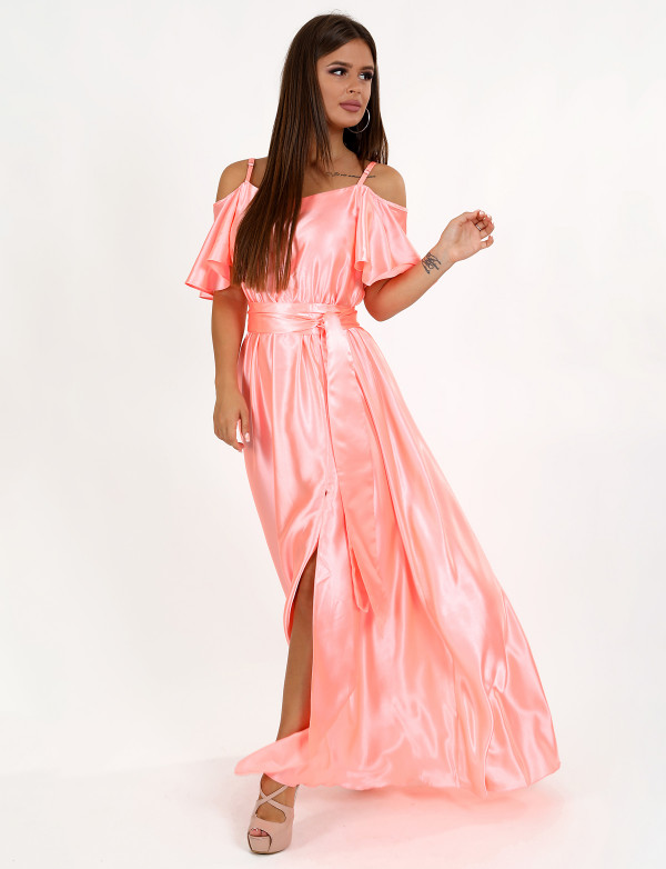 G 3085 А Платье вечернее из однотонного легкого атласа