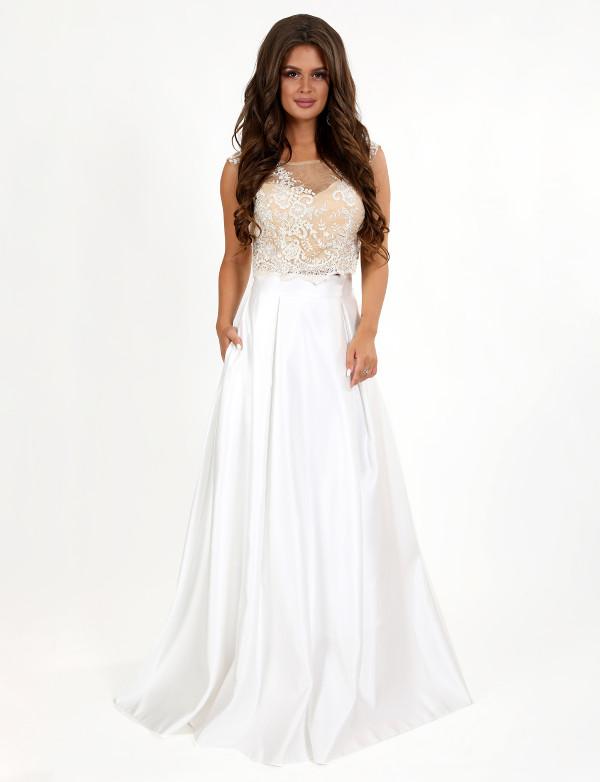 G 2260 Платье вечернее в видео гипюрового топа и атласной юбки