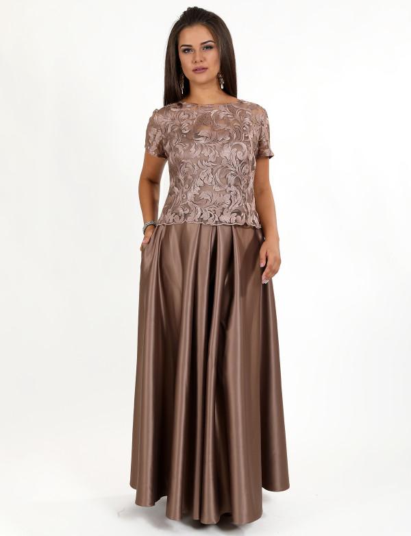 G 2271 Платье вечернее в видео гипюрового топа и атласной юбки