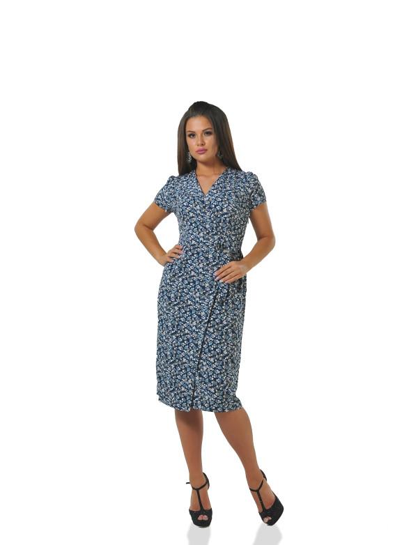 P 0973 A Платье коктейльное на запАх с цветочным принтом