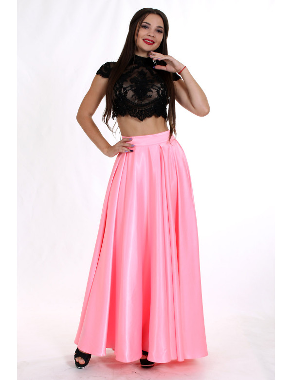 G 2237 Платье вечернее в виде гипюрового топа и атласной юбки