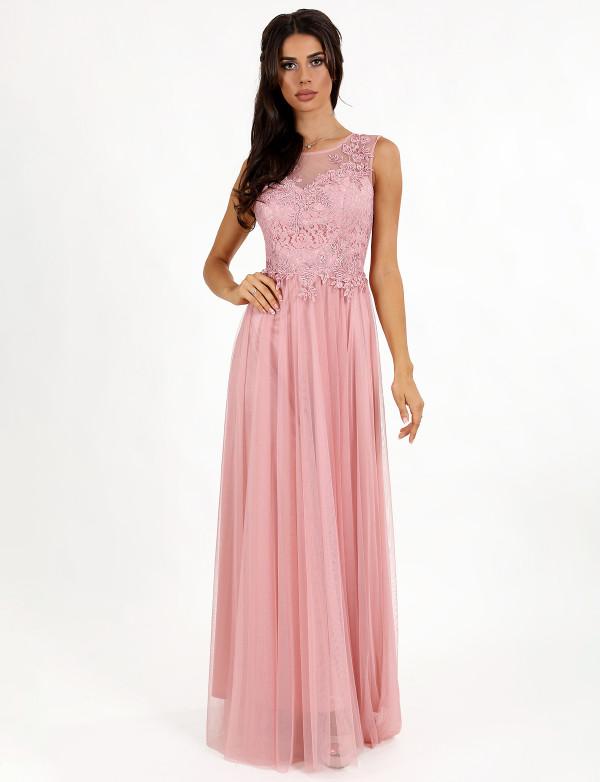 G 2212 Платье вечернее со струящейся юбкой из сетки и вышитым бисером лифом