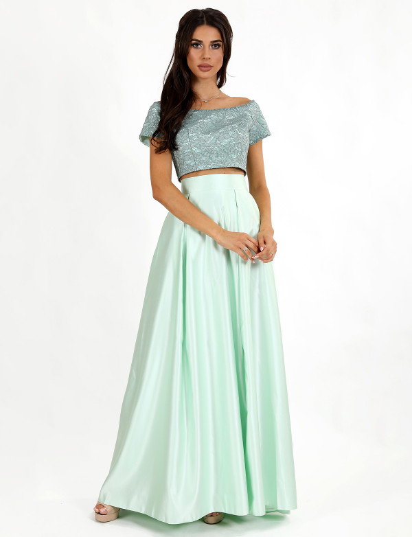 G 2240 Платье вечернее в виде гипюрового топа и юбки-годе