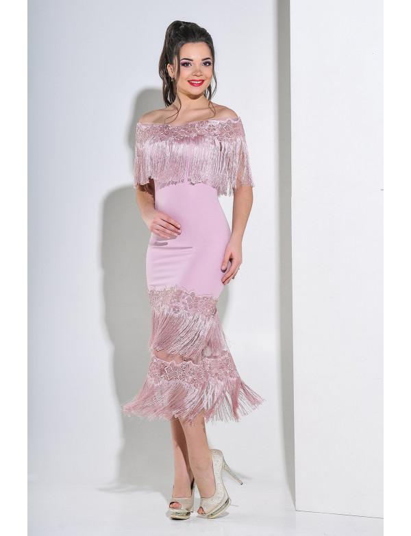 G 2198 Платье вечернее с бахромой