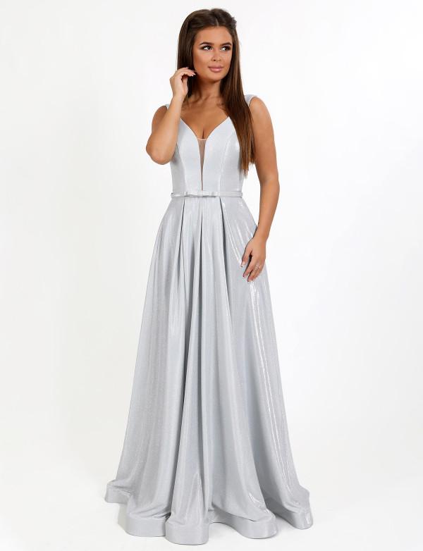 G 2282 Платье вечернее с V-образным вырезом из сияющего люриксового трикотажа