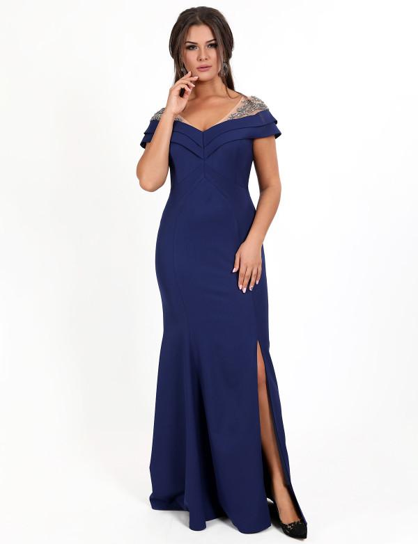 G 3089 Платье вечернее с вышивкой камнями