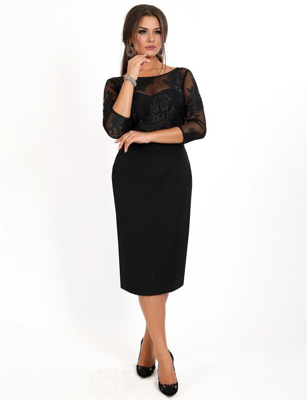 P 08231 Коктейльное платье в виде гипюрового топа с длинным рукавом и юбкой со шлицей