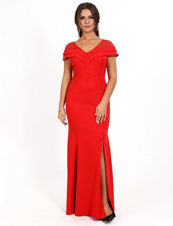G 3088 Платье вечернее с V-образным вырезом и разрезом