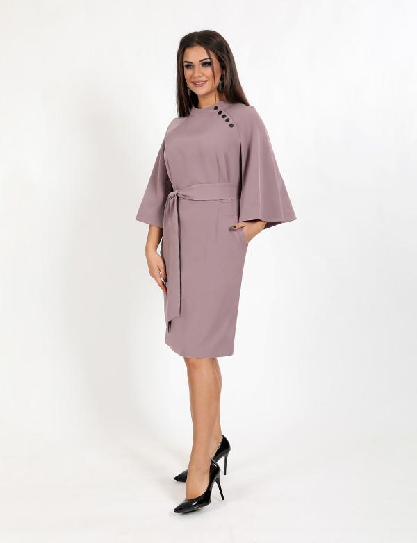 P 0098 Платье деловое с декоративными пуговицами