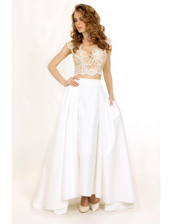 G 0828 Вечернее платье в виде топа с длинным рукавом и юбки из королевского атласа